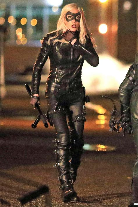 Katie Cassidy on the set of Arrow - Leather Celebrities