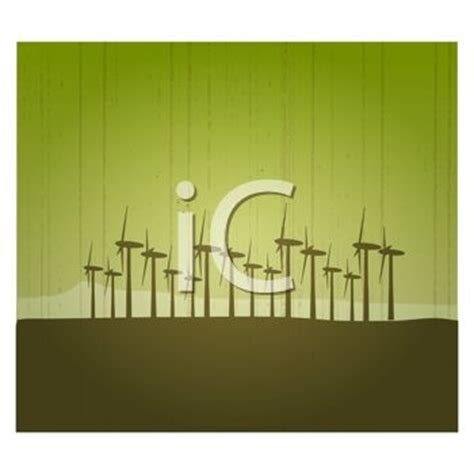 Electricity Windmills in a Field - Royalty Free Clip Art