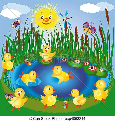 Lake with ducklings, insects and sun