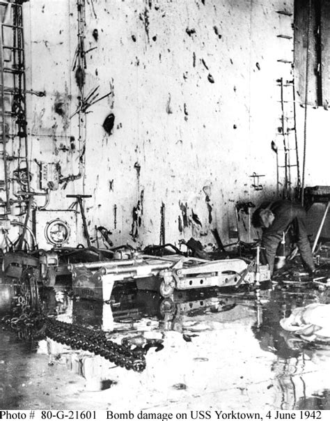 Battle of Midway--Scenes on USS Yorktown after the Bombing