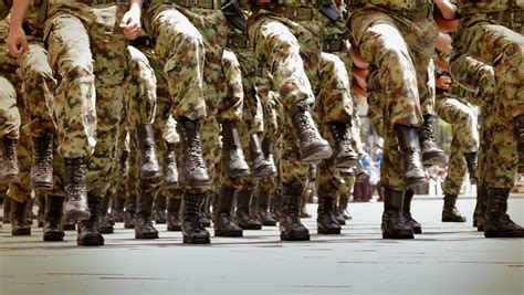 Soldiers Marching in a Parade Stock Footage Video (100%