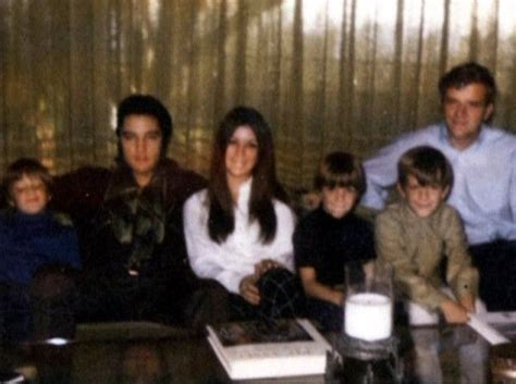 Elvis with Priscilla's brothers and sister, Michelle
